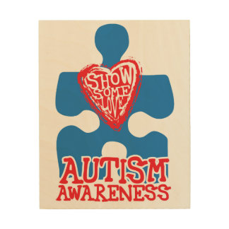 Show Some Love Autism Awareness Wood Canvas