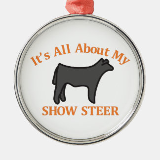 Show Steer Silver-Colored Round Decoration