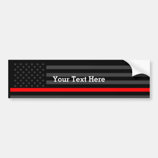 Show The Thin Red Line Personalized Black US Flag Bumper Sticker