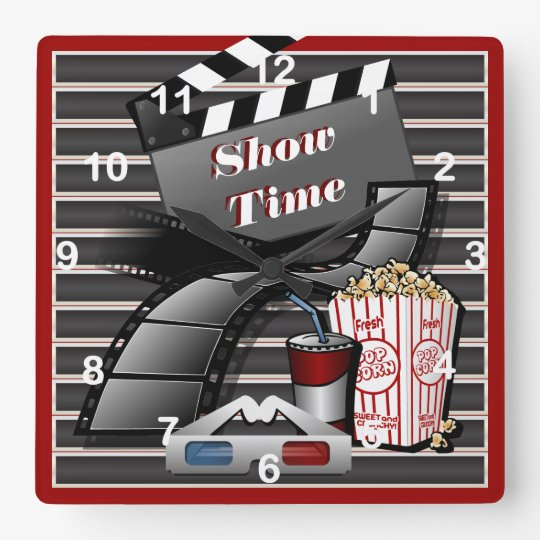 Show Time Movie Theatre Square Wall Clock