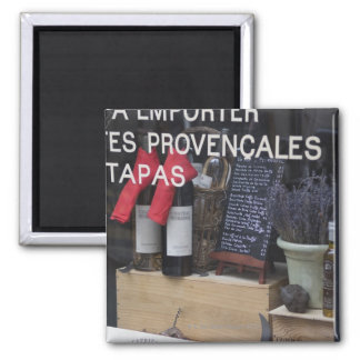 Show Window and Wine Square Magnet