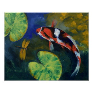 Showa Koi and Dragonfly Print