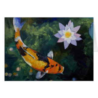 Showa Koi and Water Lily Card
