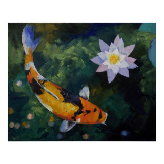 Showa Koi and Water Lily Print