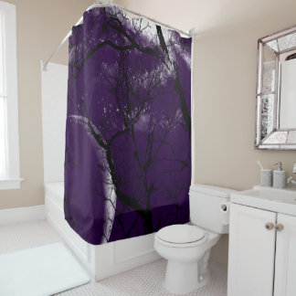 Shower curtain abstract purple moon tree