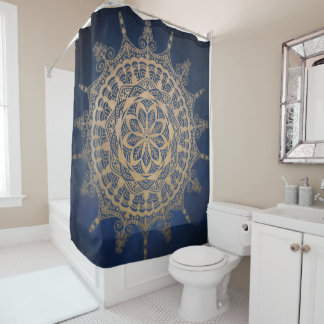 Shower Curtain Blue Golden Mandala Design