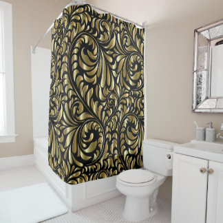 Shower Curtain - Drama in Black and Gold