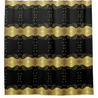 Shower Curtain--Gold Swirls & Black Shower Curtain