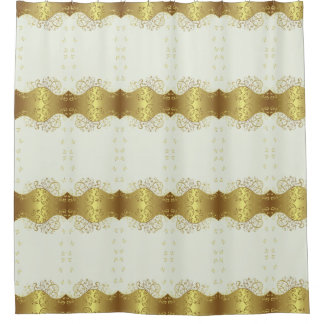 Shower Curtain--Gold Swirls & Ivory Shower Curtain