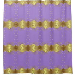 Shower Curtain--Gold Swirls & Lavender Shower Curtain