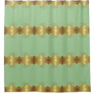 Shower Curtain--Gold Swirls & Seafoam Shower Curtain