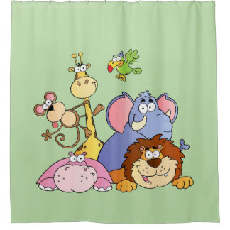 Shower Curtain--Jungle Animals Shower Curtain