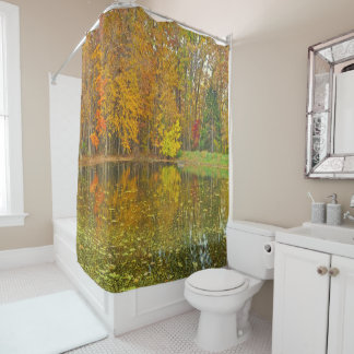 "SHOWER CURTAIN""LAKE IN THE WOODS IN AUTUMN"" SHOWER CURTAIN"
