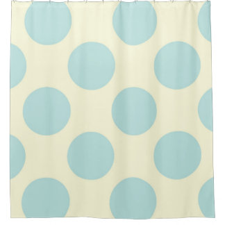 Shower Curtain large Circles Dots Blue Cream