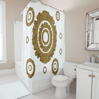Shower curtain Oval gold mirror