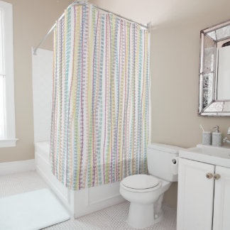 Shower Curtain/Pastel colors-stripes Shower Curtain