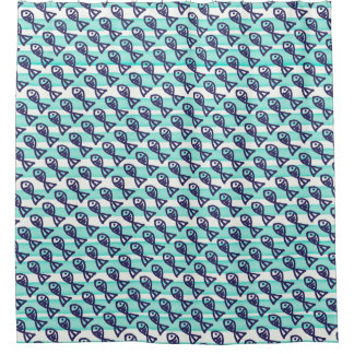 Shower Curtain repeating fish pattern
