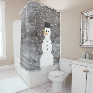 shower curtain rustic Christmas snowman