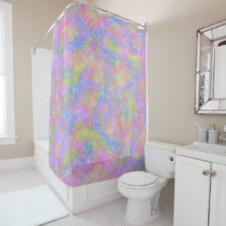 Shower Curtain - Sparkly Pastel Rainbow