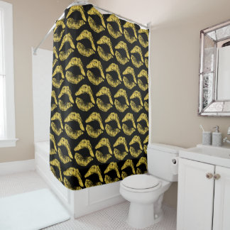Shower Curtain with Gold Lips