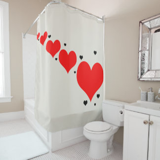 Shower curtain with hearts