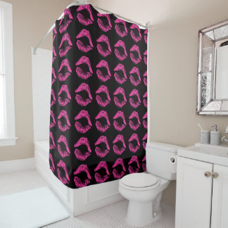 Shower Curtain with Hot Pink Lips