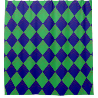 Shower curtain with lozenge sample in blue and