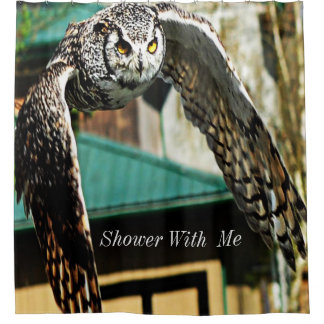 Shower With Me Great Horned Owl Yellow eye Shower Curtain