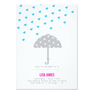 Shower with Umbrella and Hearts Invitation
