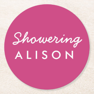 Showering the Mom-to-Be Baby Shower Coaster Pink