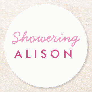 Showering the Mom-to-Be Baby Shower Coaster White