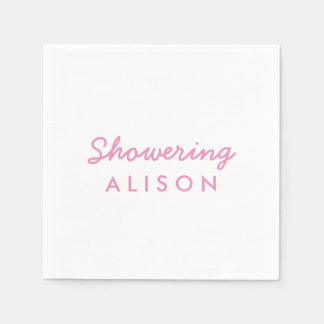 Showering the Mom-To-Be Cocktail Napkins Pink Paper Napkins