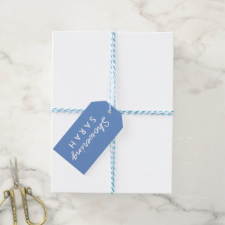 Showering the Mum-to-Be Baby Shower Tag Blue White