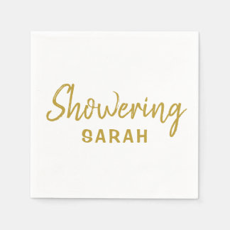 Showering the Mum-To-Be Napkins in Gold & White Paper Napkins