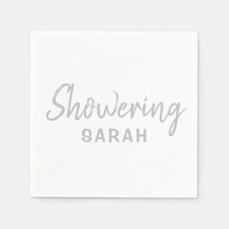 Showering the Mum-To-Be Napkins in Silver & White Paper Napkins