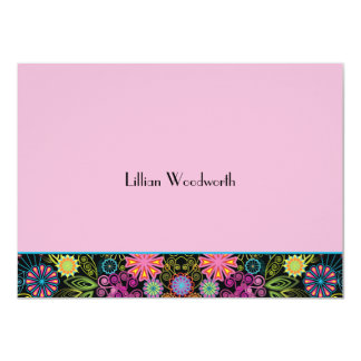 Showers of Brightness Pink Personalized Notecard 11 Cm X 16 Cm Invitation Card