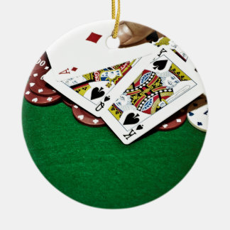Showing cards green table poker christmas ornament