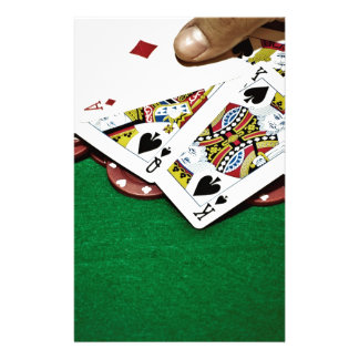 Showing cards green table poker stationery paper