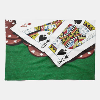 Showing cards green table poker tea towel