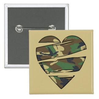 Shredded Camo Heart 15 Cm Square Badge