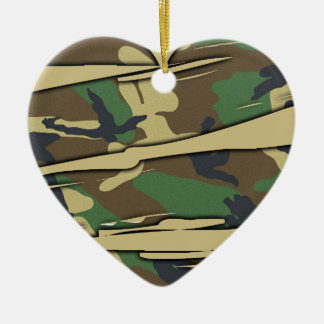 Shredded Camo Heart Christmas Ornament