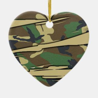 Shredded Camo Heart Christmas Tree Ornament