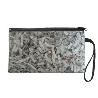 Shredded Paper Photo Wristlet Clutch