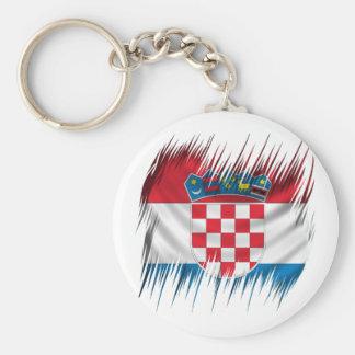 Shredders Croatian Flag Basic Round Button Key Ring