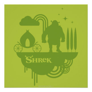 Shrek Fairy Tale Silhouette Poster
