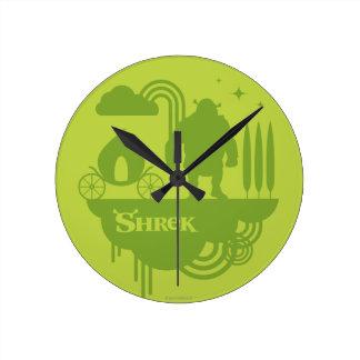 Shrek Fairy Tale Silhouette Round Clock