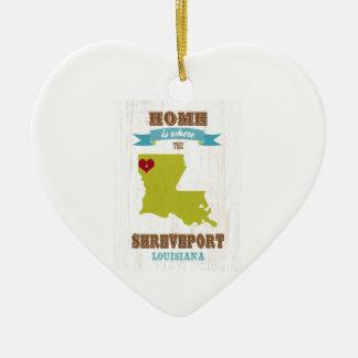 Shreveport, Louisiana Map – Home Is Where The Hear Christmas Ornament