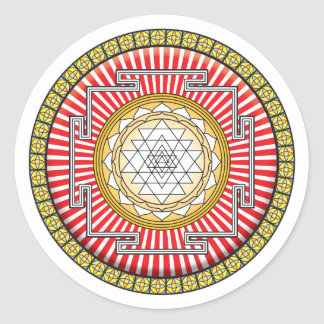 Shri Yantra Icon Round Sticker