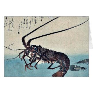 Shrimp and lobster by Ando, Hiroshige Ukiyoe Greeting Card