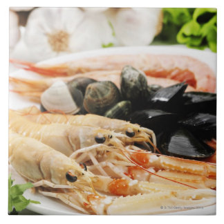 Shrimp and mussels large square tile